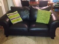 Beautiful, very strong black Italian leather sofas!