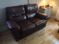 Brown Leather Loveseat Recliner Good Condition Price Negotiable