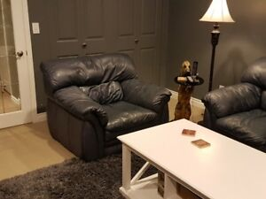 Custom Leather Loveseat + 2 x Chair - One of a Kind Set