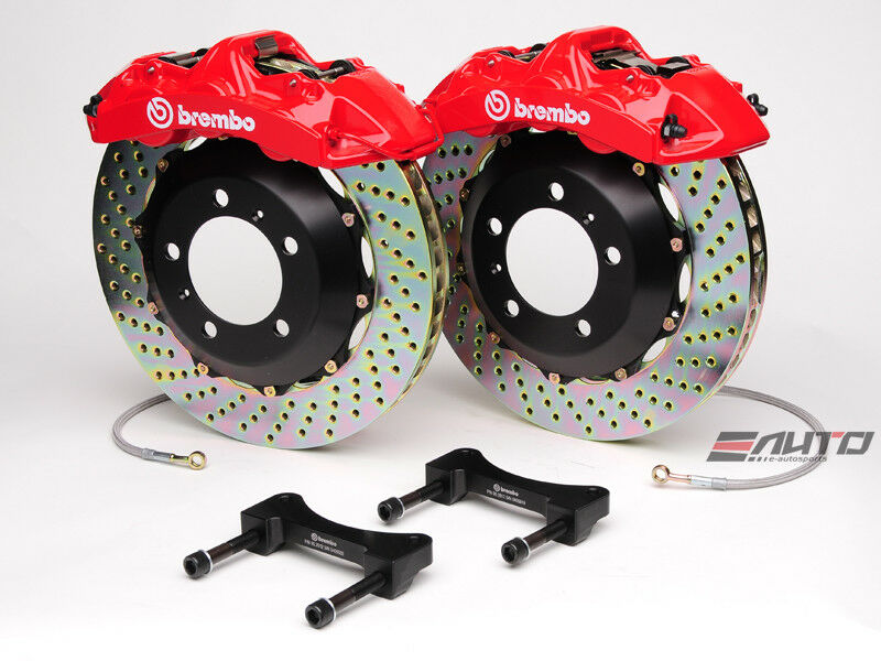 Brembo Front Gt Brake Bbk 6piston Caliper Red 355x32 Drill Disc Mustang 94-04