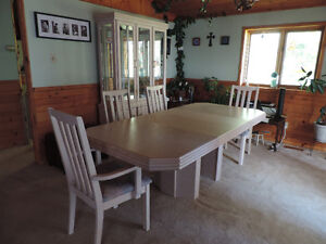 SOLID BLEACHED OAK TABLE, CABINET AND 4 CHAIRS