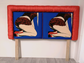 Unusual Upholstered Pop Art Headboard