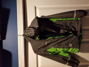 Boys rain coat, Charcoal and green with hood.