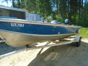 16  LUND BOAT 45 HP MERC   DEEP WIDE  STEERING CONSOLE