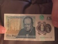 Ad18 and ak23 rare five pound notes