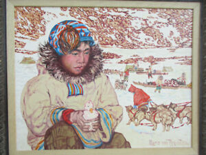 Beautiful Rare Inuit Painting by Mario Von Brentani - Publisher