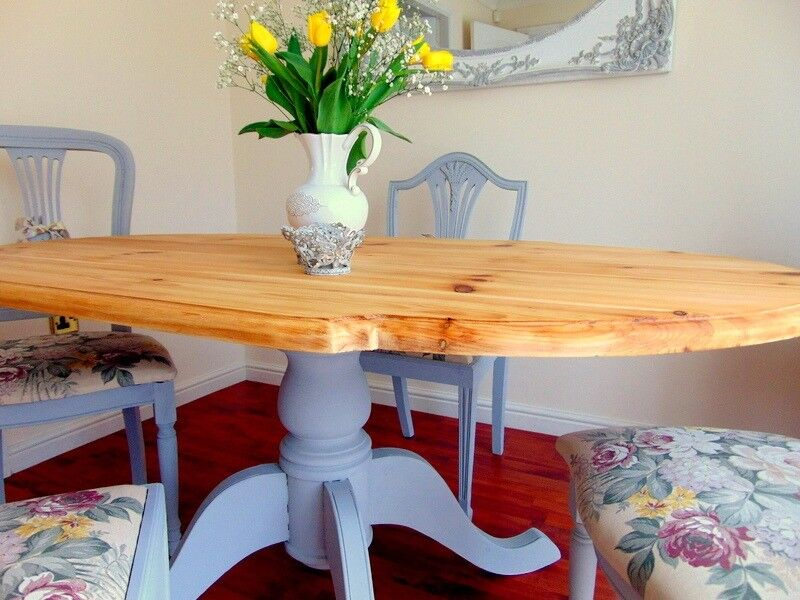 Solid Pine Dining Table 4 Chairs Grey French Country Water Stain Resistant Top Uk Del In Hadfield Derbyshire Gumtree