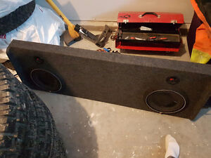 """Dual 10"""" Rockford p3 subs in underseat box"""