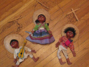 Marionette Puppets- 3 vintage collectibles