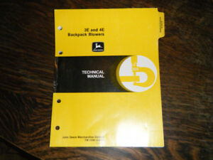 John Deere 3E and 4E Backpack Blowers Technical Manual
