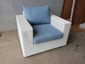 Savana Armchair in White UV Rattan and Sunproof Blue Cushions Loganholme Logan Area Preview