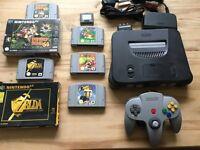 Nintendo 64 N64 With 5 Games & Nintendo Case