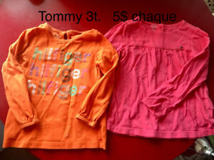 Chandail 3t tommy hilfiger 5$ chaque