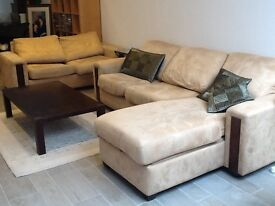 DFS L-shaped sofa, sofa bed and footrest with storage