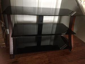 TV Stand. Smokey glass & wood