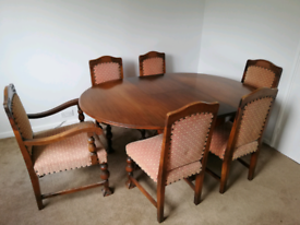 Antique German / Dutch Dinning Table and six Chairs