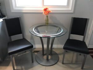 ** GLASS TABLE BISTRO SET FOR 2 FOR SALE!**