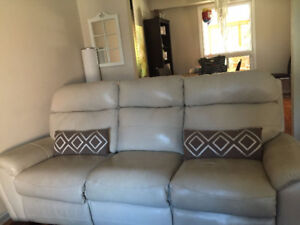 Leather beige/white reclining couch