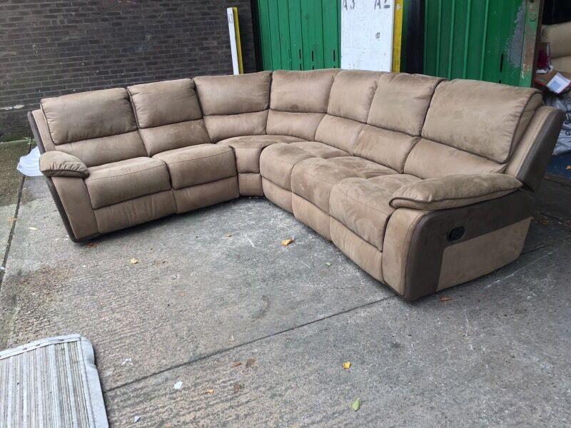 Designer Suede Fabric Recliner Corner Sofa 6 7 Seater