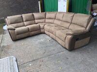 Designer suede fabric recliner corner sofa 6-7 seater brown beige light