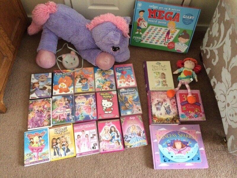 Girls Christmas gift job lot DVDs books unicorns smiggle game