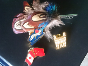 Pins and a feather brooch