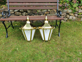 Large pair of brass Victorian style half wall lamps/lights/lanterns