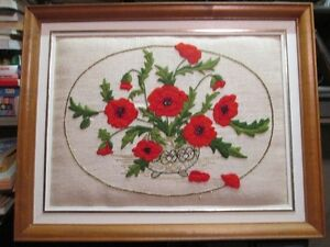 Vintage Hand stitched flower picture in frame
