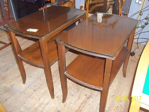 Pair of End Tables with Glass Protective Tops