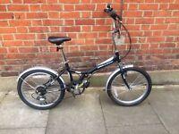 Black unisex folding bicycle 6 gears bike