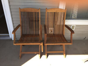 TWO WOODEN PATIO BROWN CHAIRS FOR SALE
