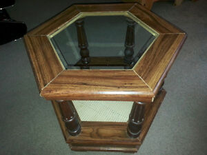 Hexagonal glass and bed side or coffee table