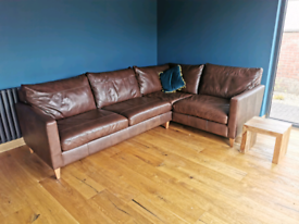 John Lewis Bailey Milan Chestnut Leather Corner sofa couch 7yr warrant