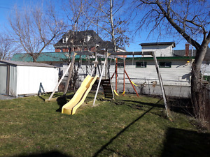 Swing Set with slide and monkey bars
