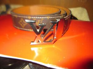 Louis Vuitton Leather Belt  Silver Buckle  Made In Spain Vintage