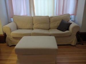 Ikea Ektorp series sofa and footstool