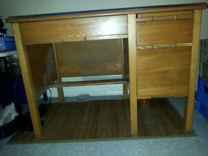 Glass top, solid wood 3 drawer desk.