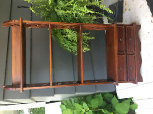 Very pretty wood wall cabinet with shelves and 4 drawers