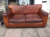 Brown Vintage Soft Aged Leather Two Seater Sofa