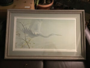 Robert Bateman Large print of Heron in flight, signed numbered
