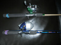 Cannes moulinets a peche 10$ chaques, Fishing rod reel