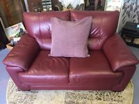 Two Seater Red Leather Sofa