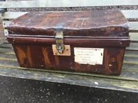 Antique steel trunk with patina excellent for display or prop