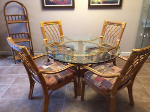 4 Chair Dining Set with Glass Table + matching shelf