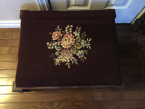 Vintage Needlepoint Covered Footstool