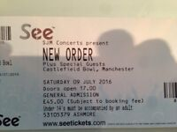 New Order ticket for Saturday 9th July Manchester