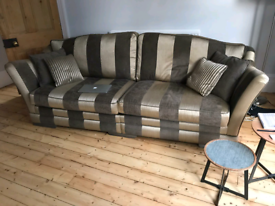 Bargin - Large Sofa Brown & Gold + arm chair. (Barker & Stonehouse)