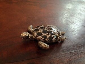 Silver, Black & Crystals Turtle Brooche/Pin