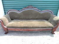 Antique PARLOUR SOFA Heavy Solid Wood VELOUR Snake Skin Look