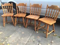 4x kitchen farmhouse solid chunky pine chairs for refurb
